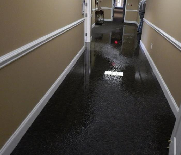Flooded hall at church  Before