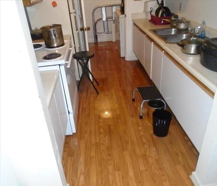 kitchen with brown floor